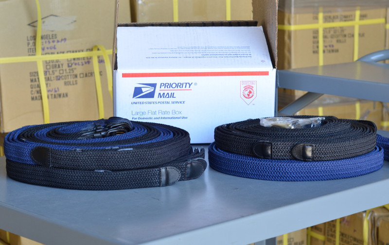 4 layers of stretch belts fit in a large box