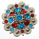 berry concho with blue, red and gray stones