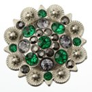 berry concho with green and gray stones
