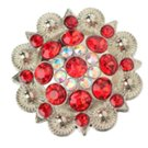 berry concho with red and clear stones