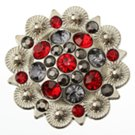 berry concho with red and gray stones