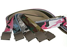 five cotton camouflage canvas military belts