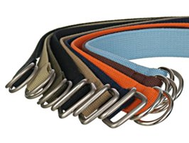 spread of cotton D-ring canvas belts
