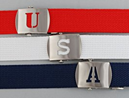 military buckles with cut-out initials