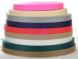 stack of narrow polypro webbing rolls
