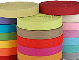 stacks of colorful webbing mini-rolls